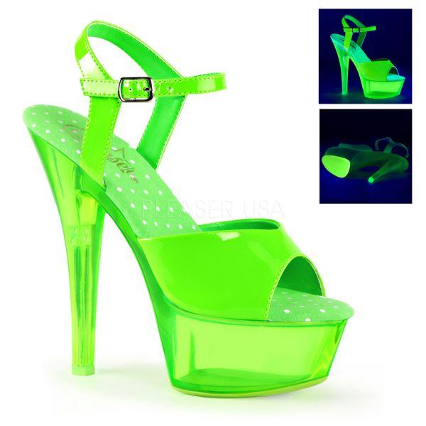 KISS-209UVT neon grün     Plateau Sandalette neon-grün mit durchsichtigem Plateau